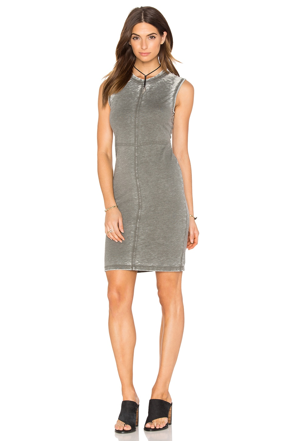 Burnout Pilled Terry Crew Neck Tank Dress by Bobi