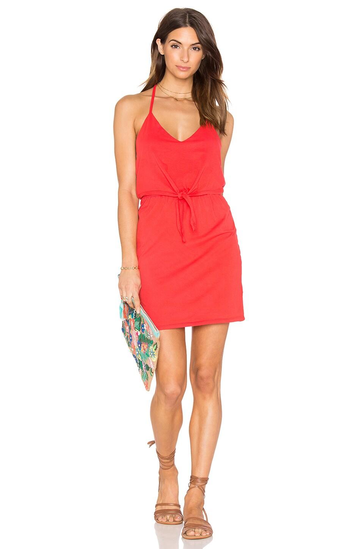 Bobi Supreme Jersey Tied Waist V Neck Dress in Retro Red