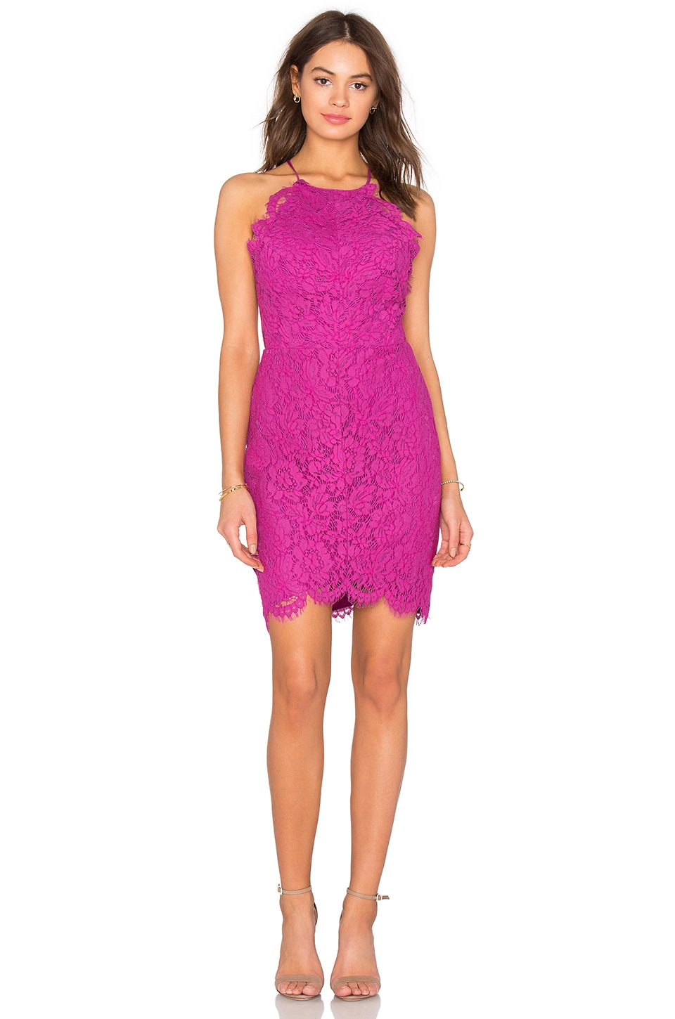 Bobi BLACK Mixed Chiffon Lace Bodycon Dress in Berry | REVOLVE