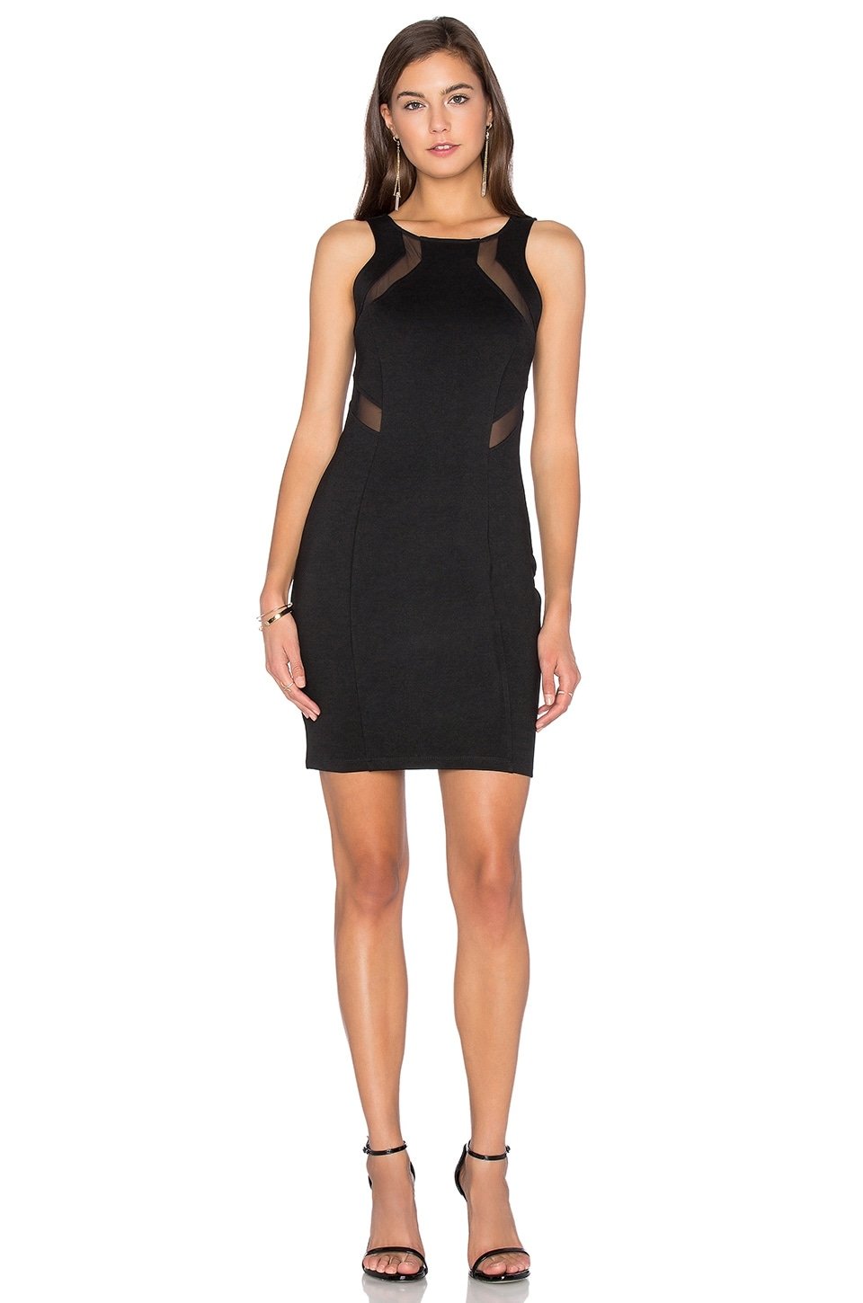 Bobi BLACK Double Knit Sleeveless Bodycon Mini Dress in Black