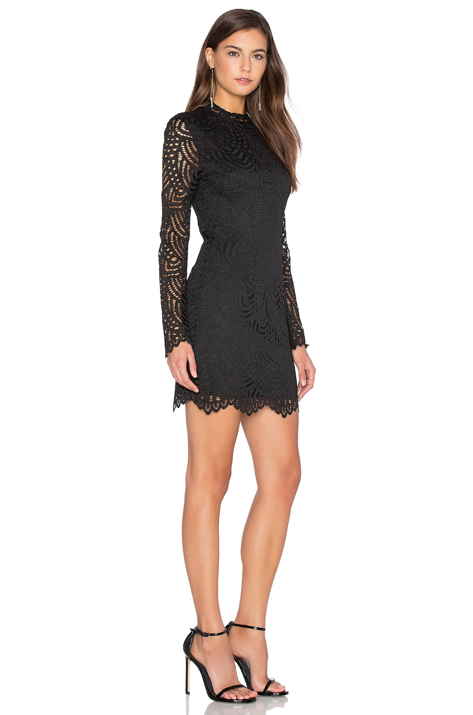4da64563667 Bobi BLACK Lace Crochet Overlay Long Sleeve Crew Neck Mini Dress in Black