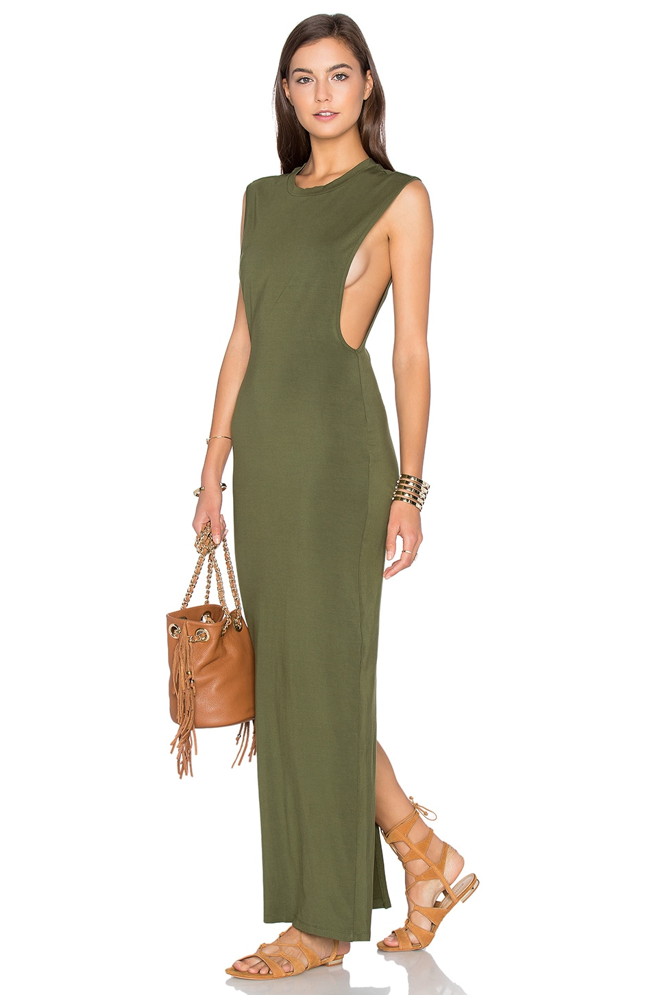 Jersey Sleeveless Back Slit Maxi Dress by Bobi