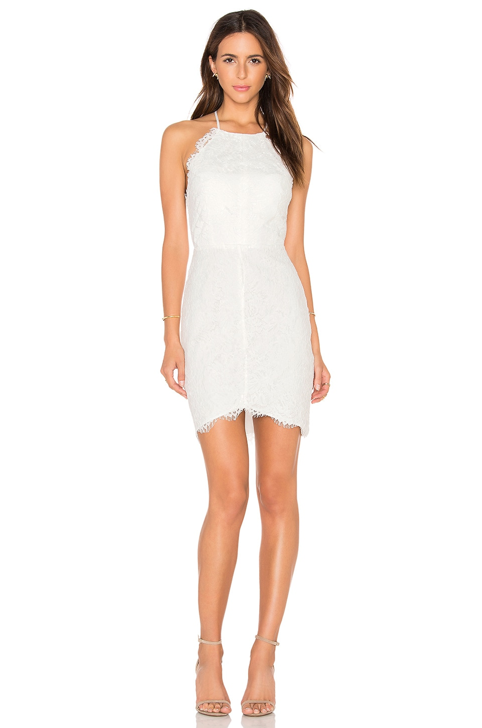 Bobi BLACK Mixed Chiffon Lace Bodycon Dress in White