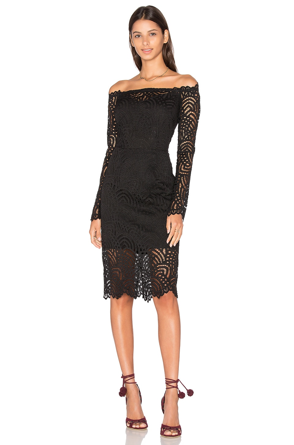 Bobi BLACK Lace Crochet Overlay Long Sleeve Off The Shoulder Dress ...