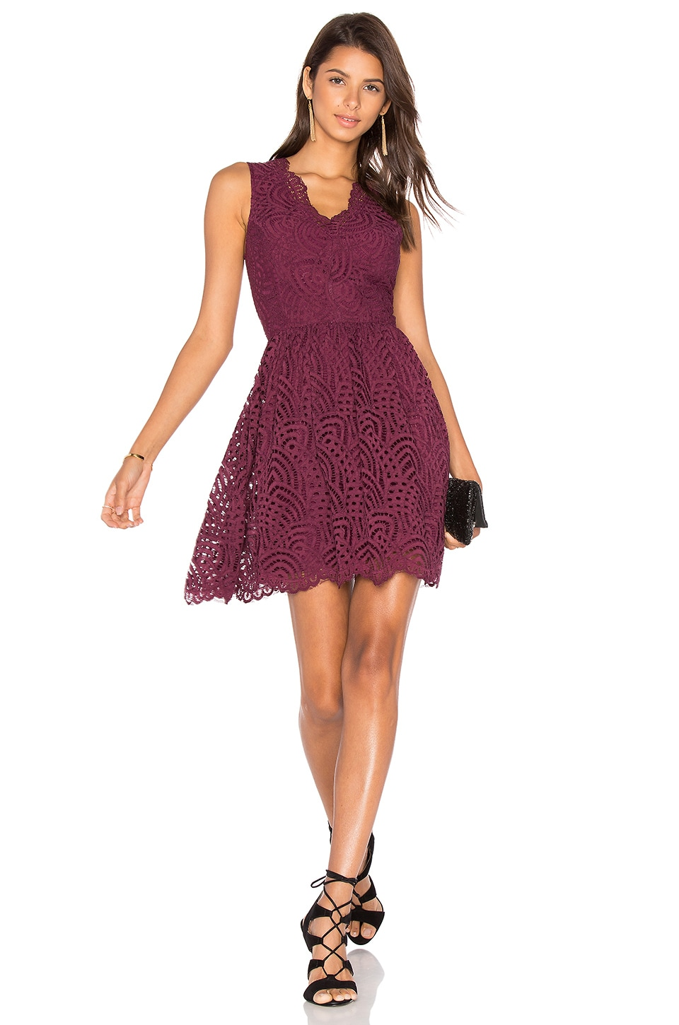 Bobi BLACK Lace Crochet Overlay Fit & Flare Sleeveless Dress in Wine