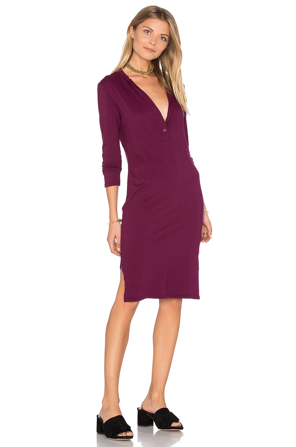 Long Sleeve Button Front Dress by Bobi