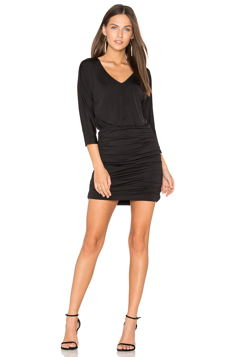 BLACK Luxe Jersey Ruched Mini Dress by Bobi