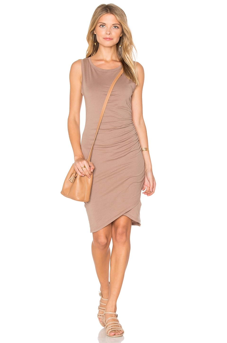 Bobi Supreme Jersey Ruched Bodycon Dress in Java
