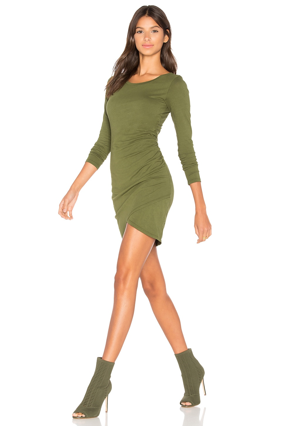 Bobi Supreme Jersey Long Sleeve Ruched Mini Dress in Combat