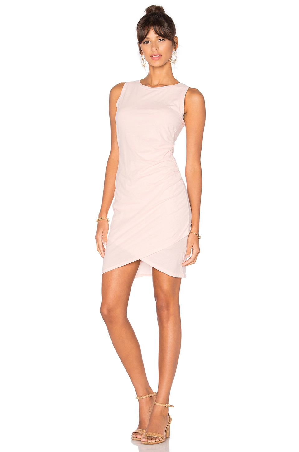 Bobi Supreme Jersey Ruched Bodycon Dress in Blushed