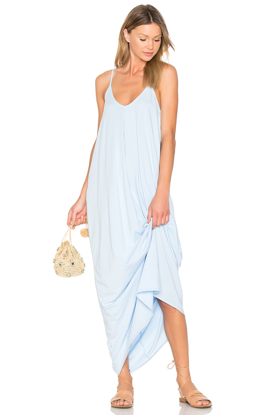 Bobi Drape Maxi Dress in Hydrangea