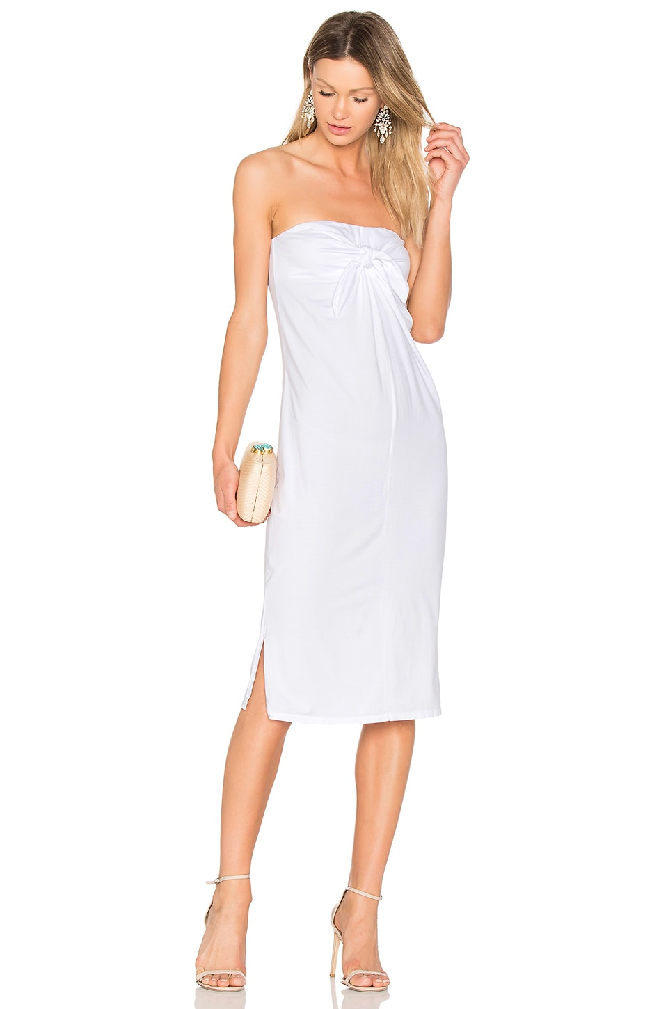 Bobi Tie Front Dress in White