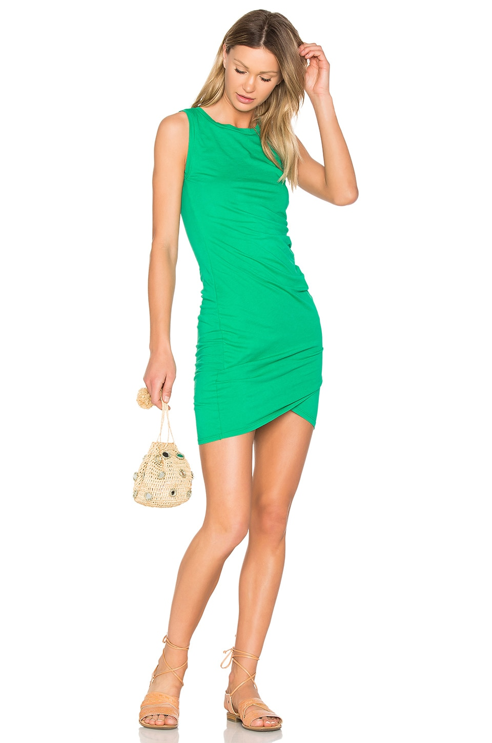 Bobi Supreme Jersey Ruched Bodycon Dress in Rainforest