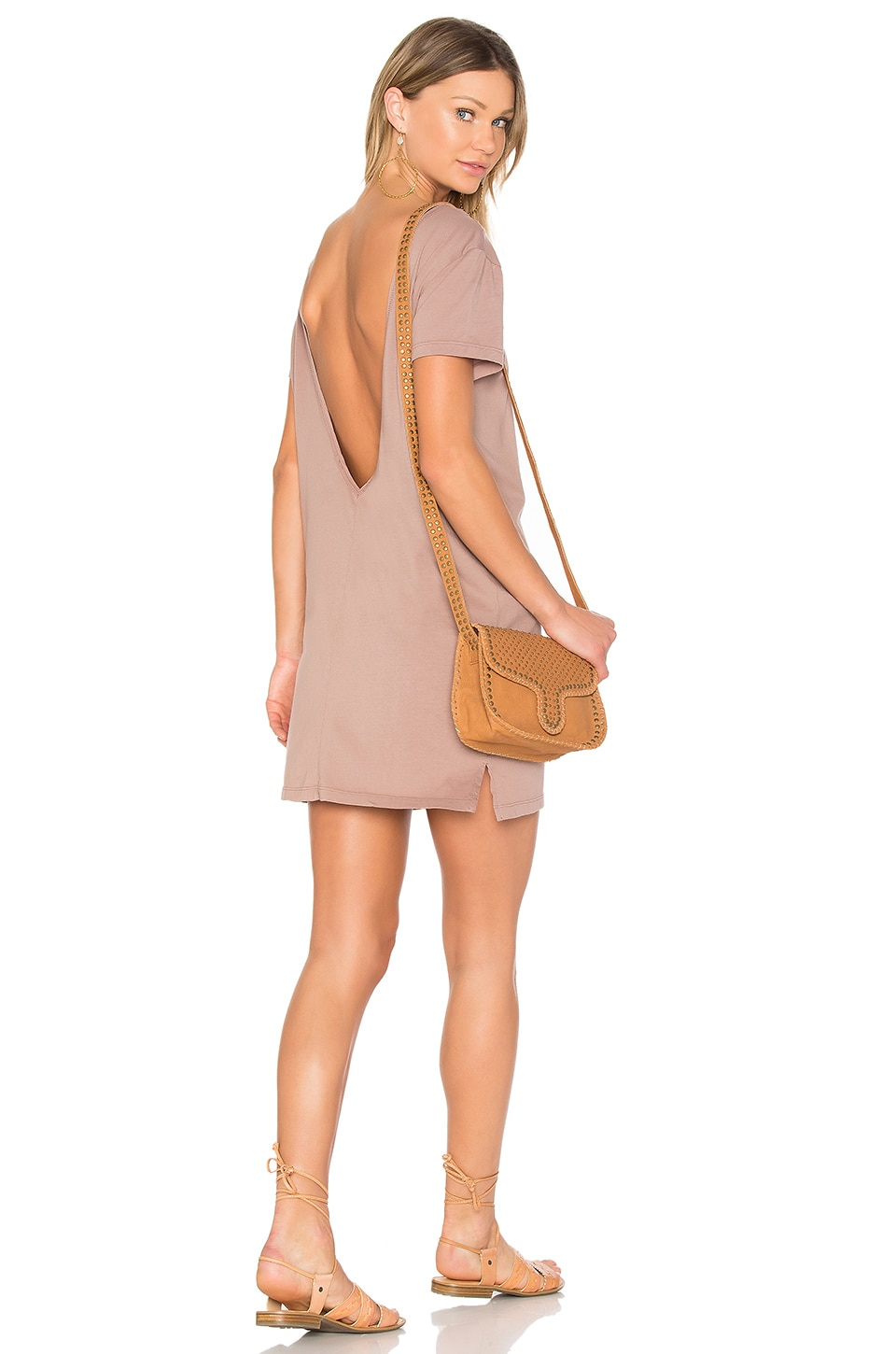 Bobi Supreme Jersey Scoop Back Shirt Dress in Java