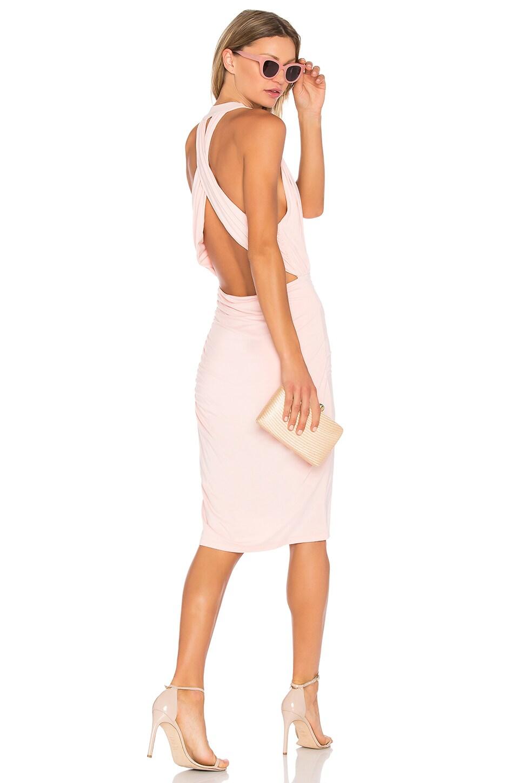 Bobi Deep V Mini Dress in Blush