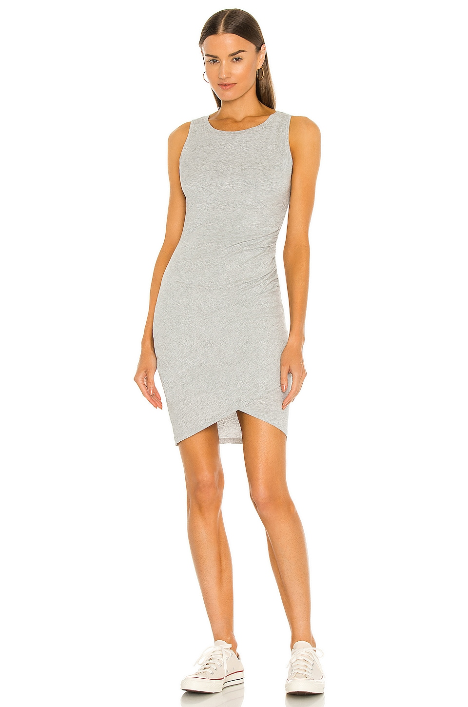 Bobi Supreme Jersey Ruched Bodycon Dress in Heather Grey