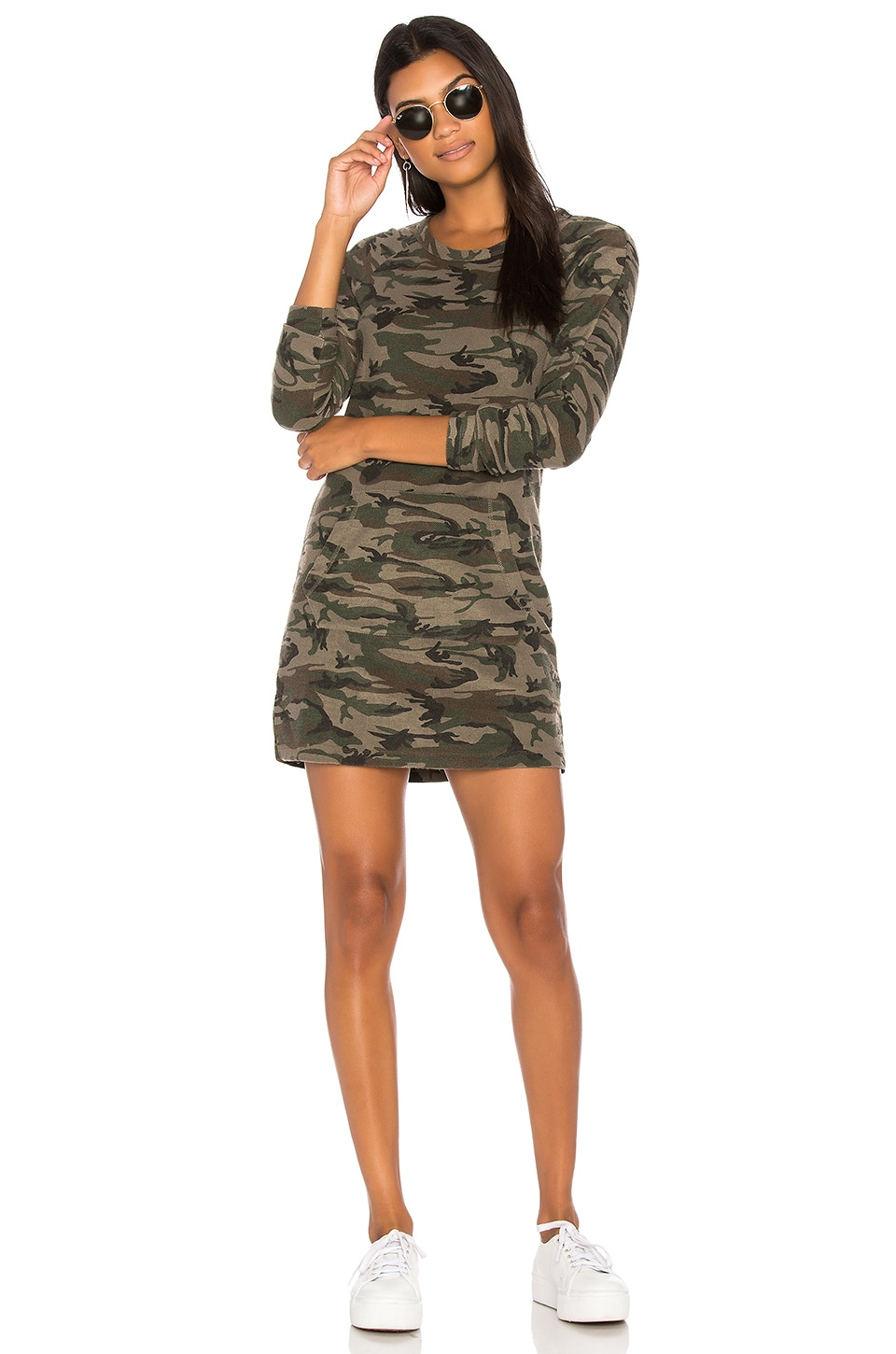 Bobi Textured Camo Sweatshirt Dress in Army
