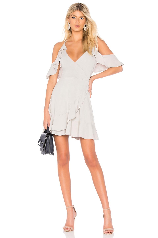 Bobi Draped Modal Jersey Cold Shoulder Dress in Shade