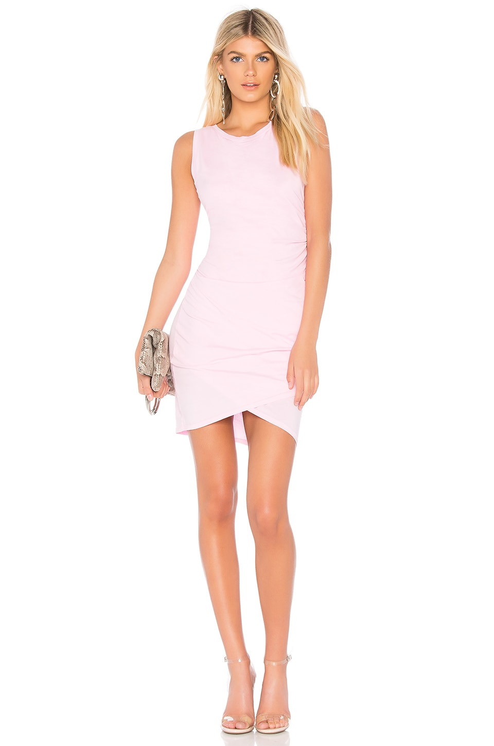 Bobi Supreme Jersey Mini Wrap Dress in Peonies
