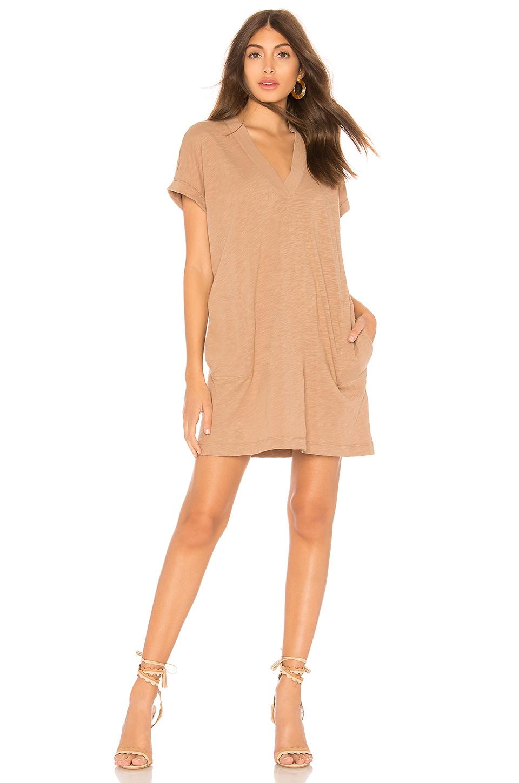 Bobi Slubbed Jersey Mini Dress in Java