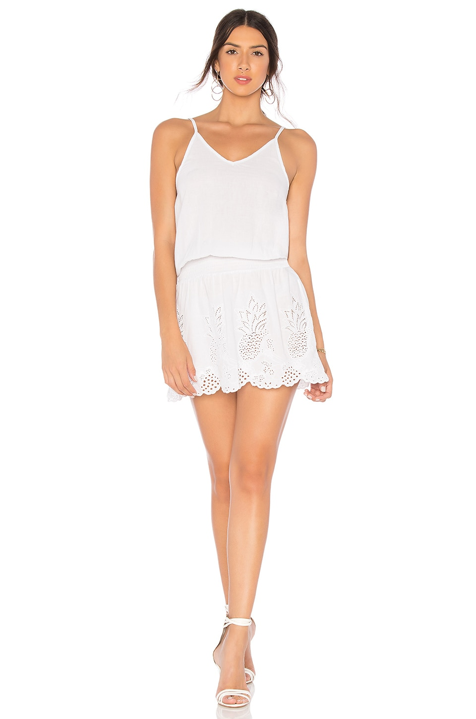 Bobi Pineapple Eyelet Dress in White