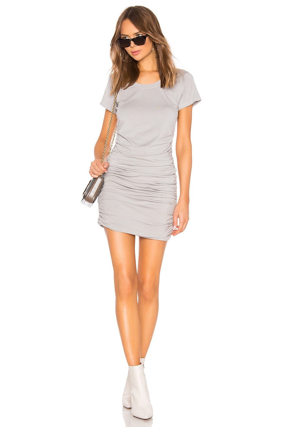 Bobi Draped Jersey Ruched Dress in Pebbles