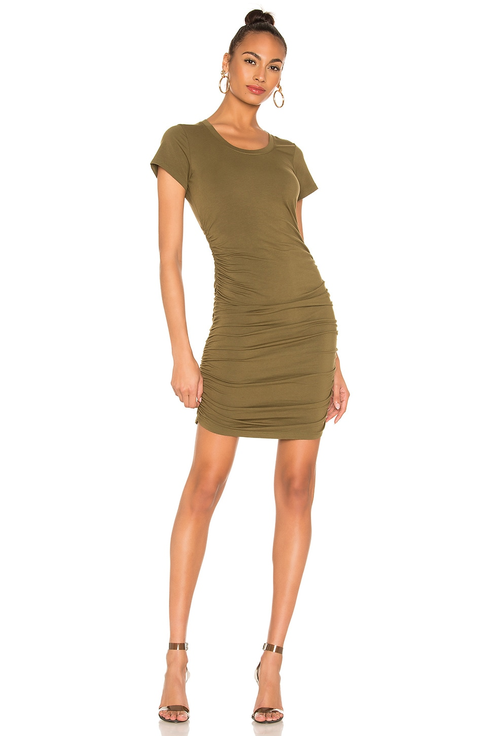 Bobi Draped Jersey Ruched Dress in Fatigues