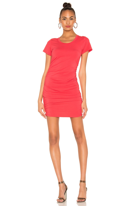 Bobi Draped Jersey Ruched Dress in Raspberry