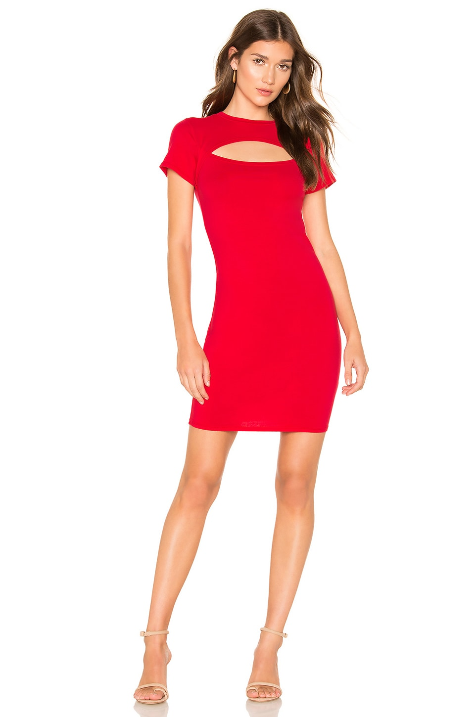 Bobi Draped Modal Jersey Bodycon Dress in Chili