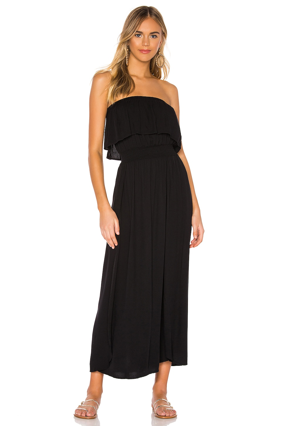 Bobi Beach Crepe Maxi Dress in Black