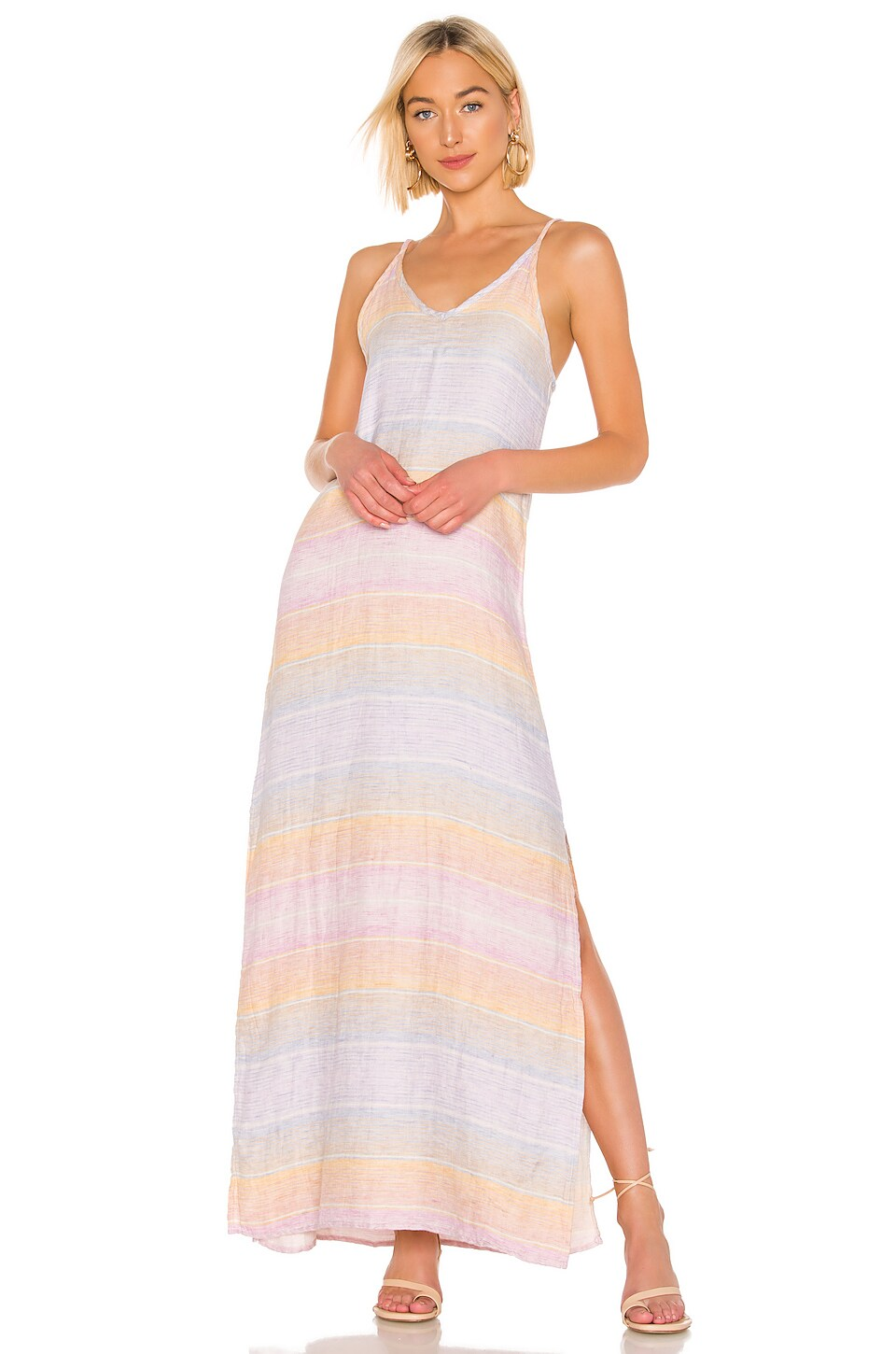 Bobi Sunset Linen Maxi Dress in Multi