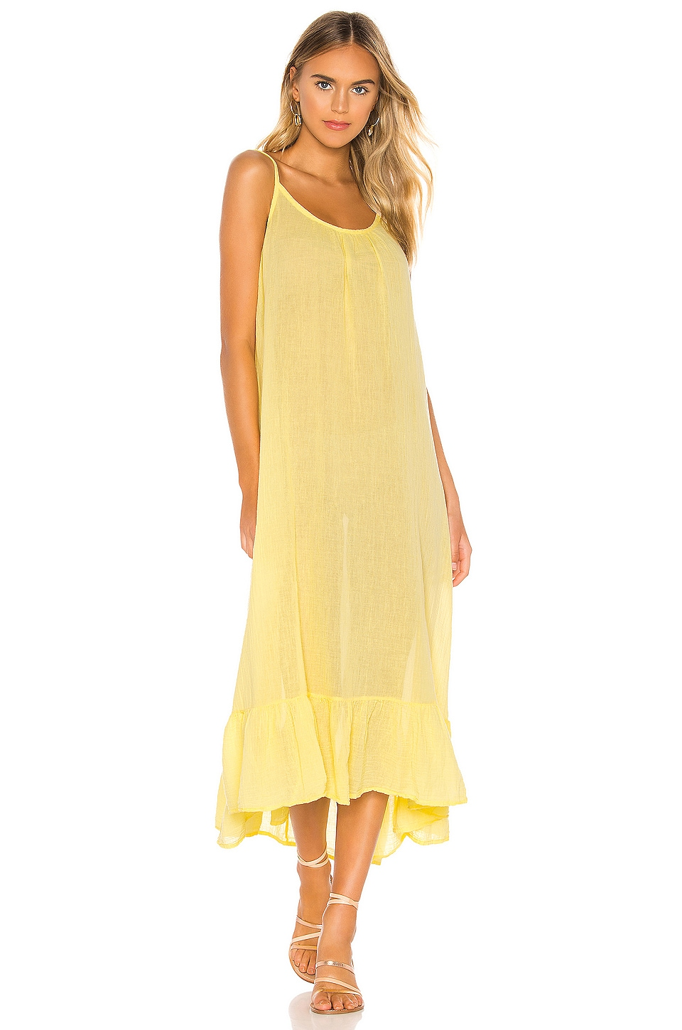 Bobi Gauze Midi Dress in Daffodil