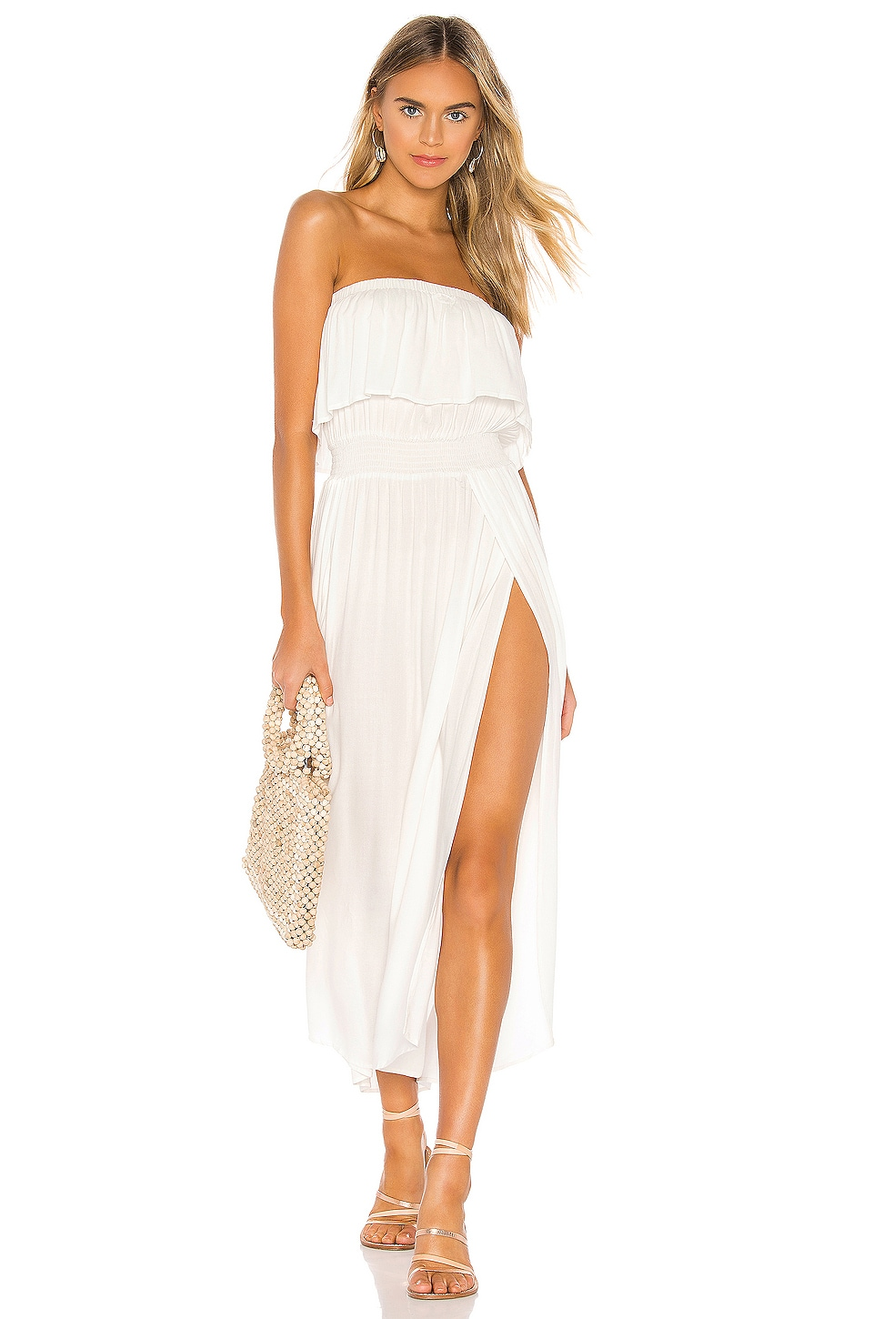 Bobi Beach Crepe Maxi Dress in Ivory