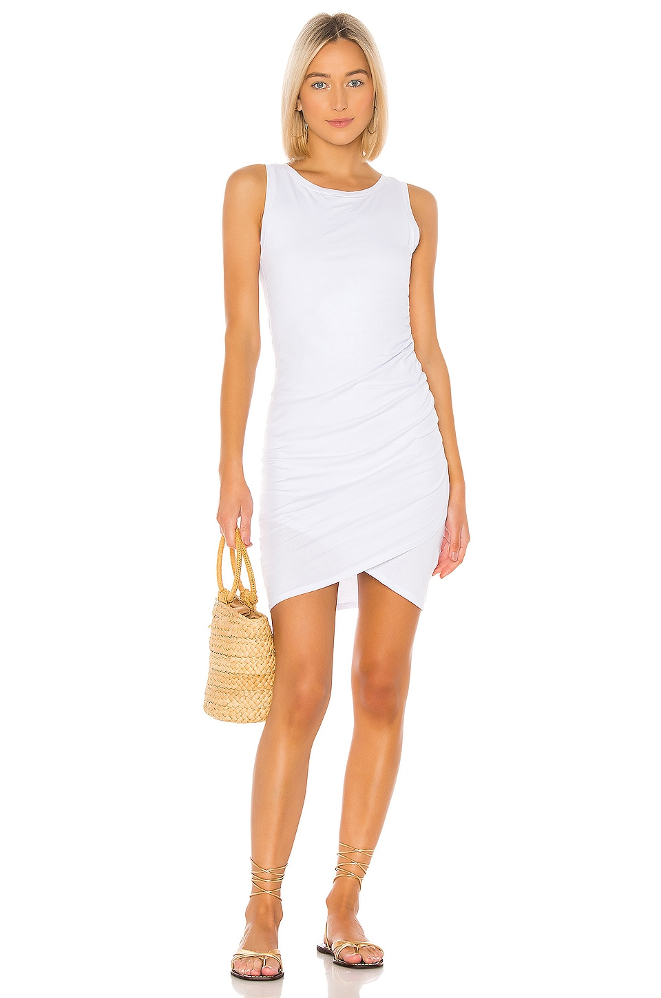 Bobi Supreme Jersey Tank Dress in White
