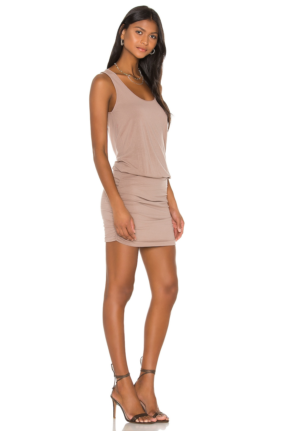 Draped Modal Jersey Mini Dress, view 2, click to view large image.