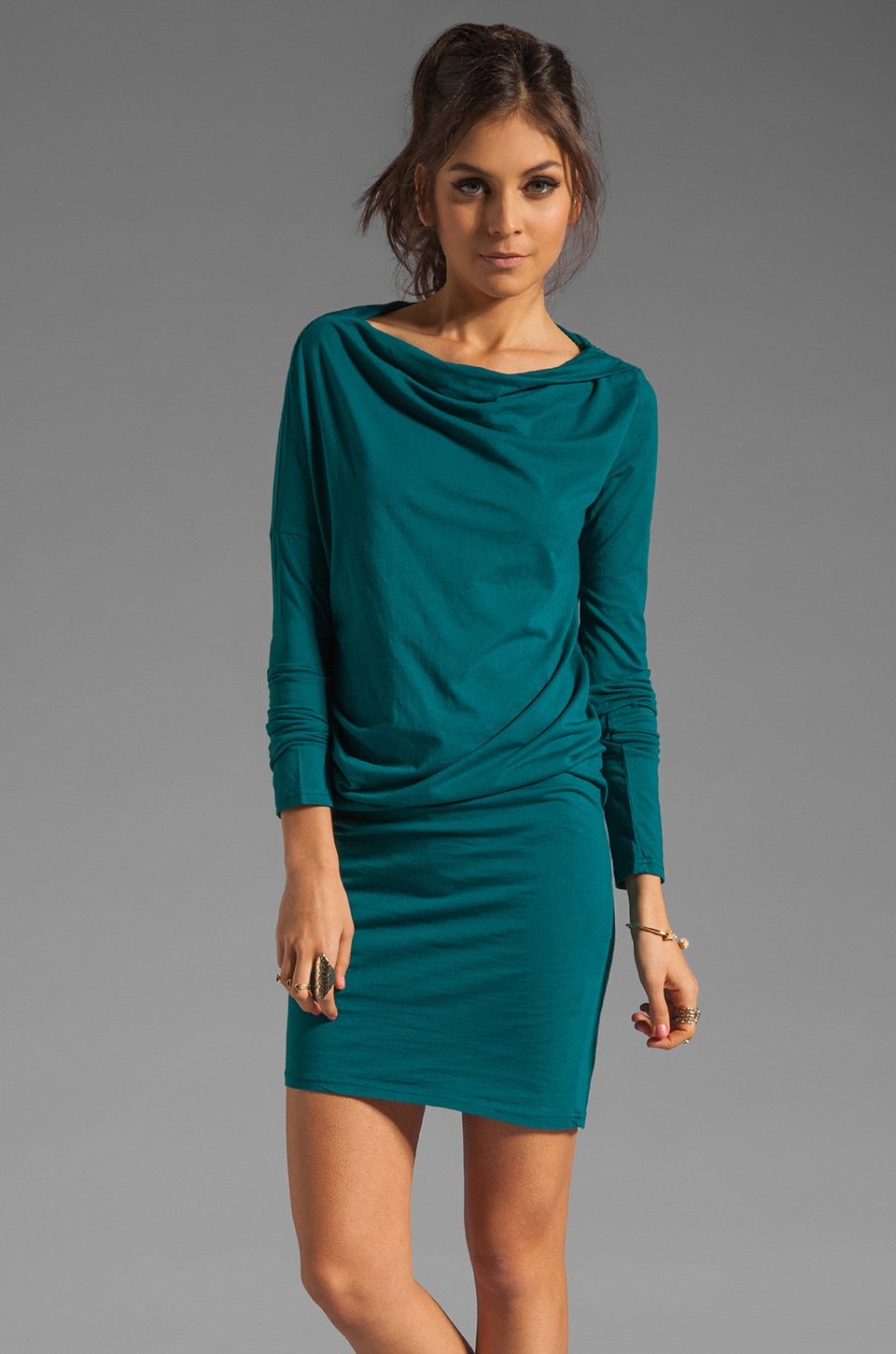 Bobi Long Sleeve Modal Jersey Dress in Bluegreen