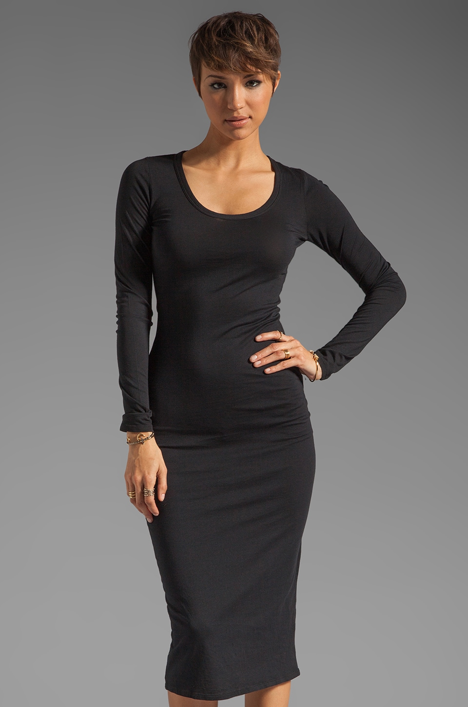 Bobi Modal Jersey Long Sleeve Dress in Black