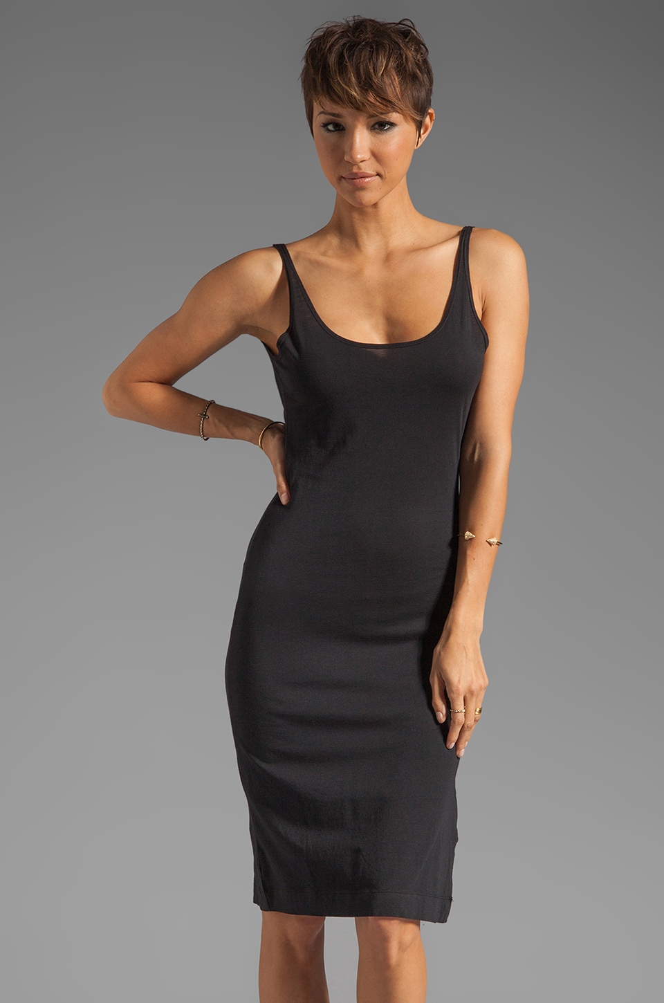 Bobi Modal Jersey V Back Tank Dress in Black