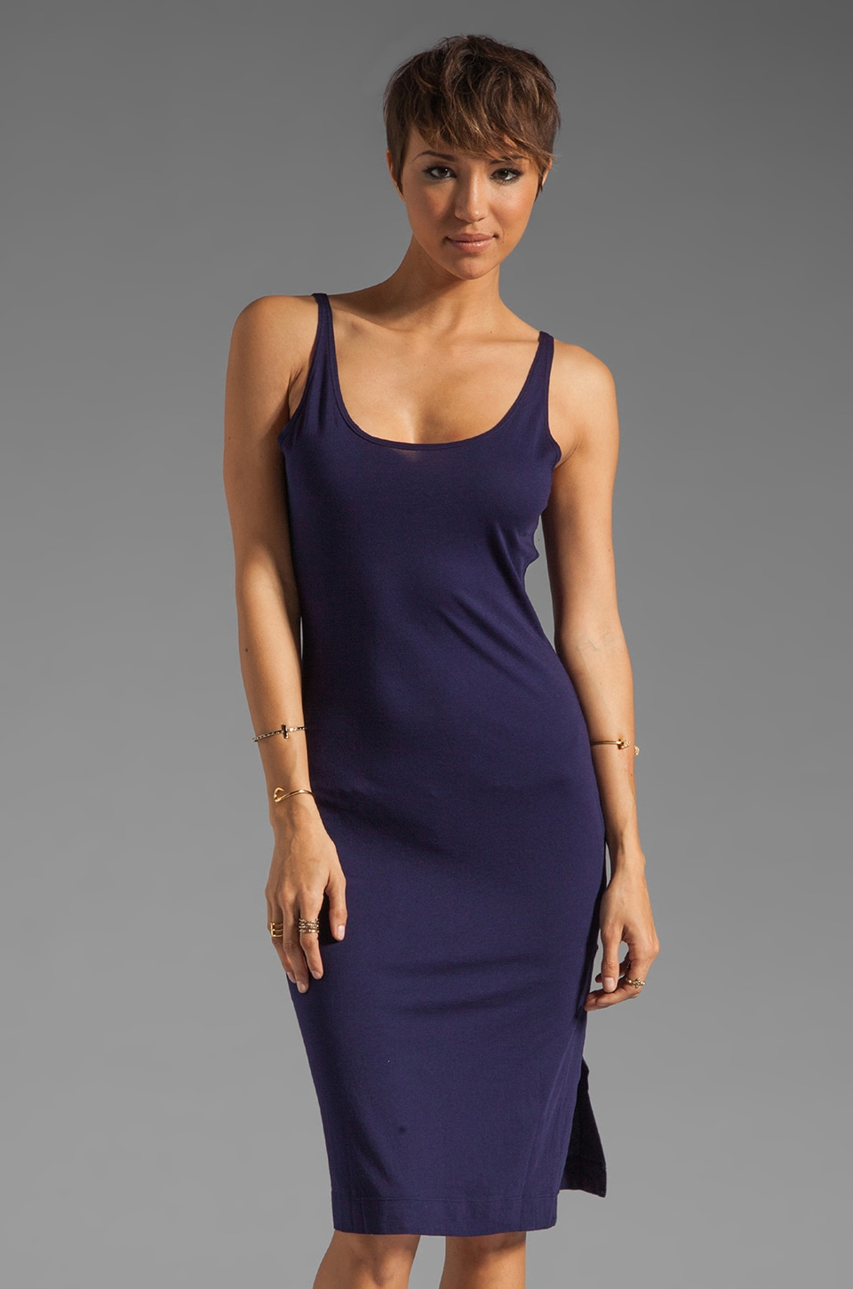 Bobi Modal Jersey V Back Tank Dress in Yacht