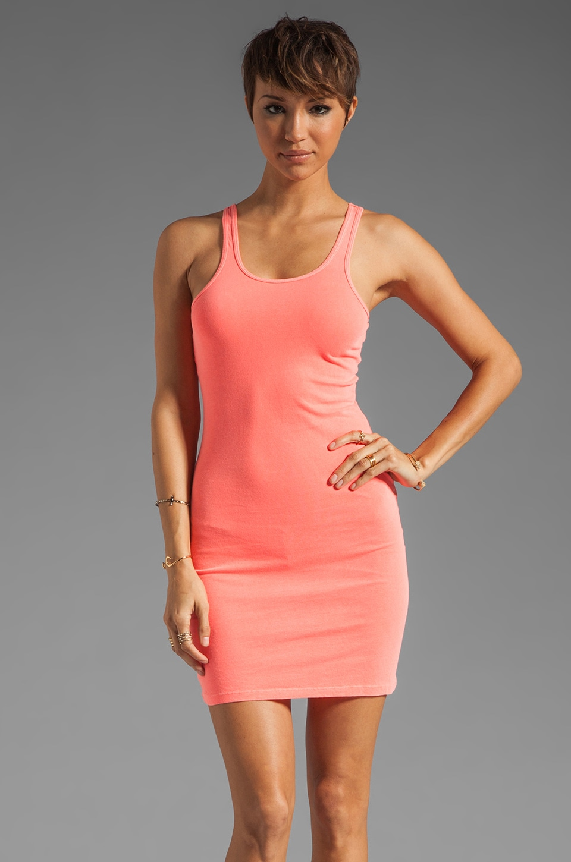 Bobi Light Weight Jersey Tank Dress in Neon Coral