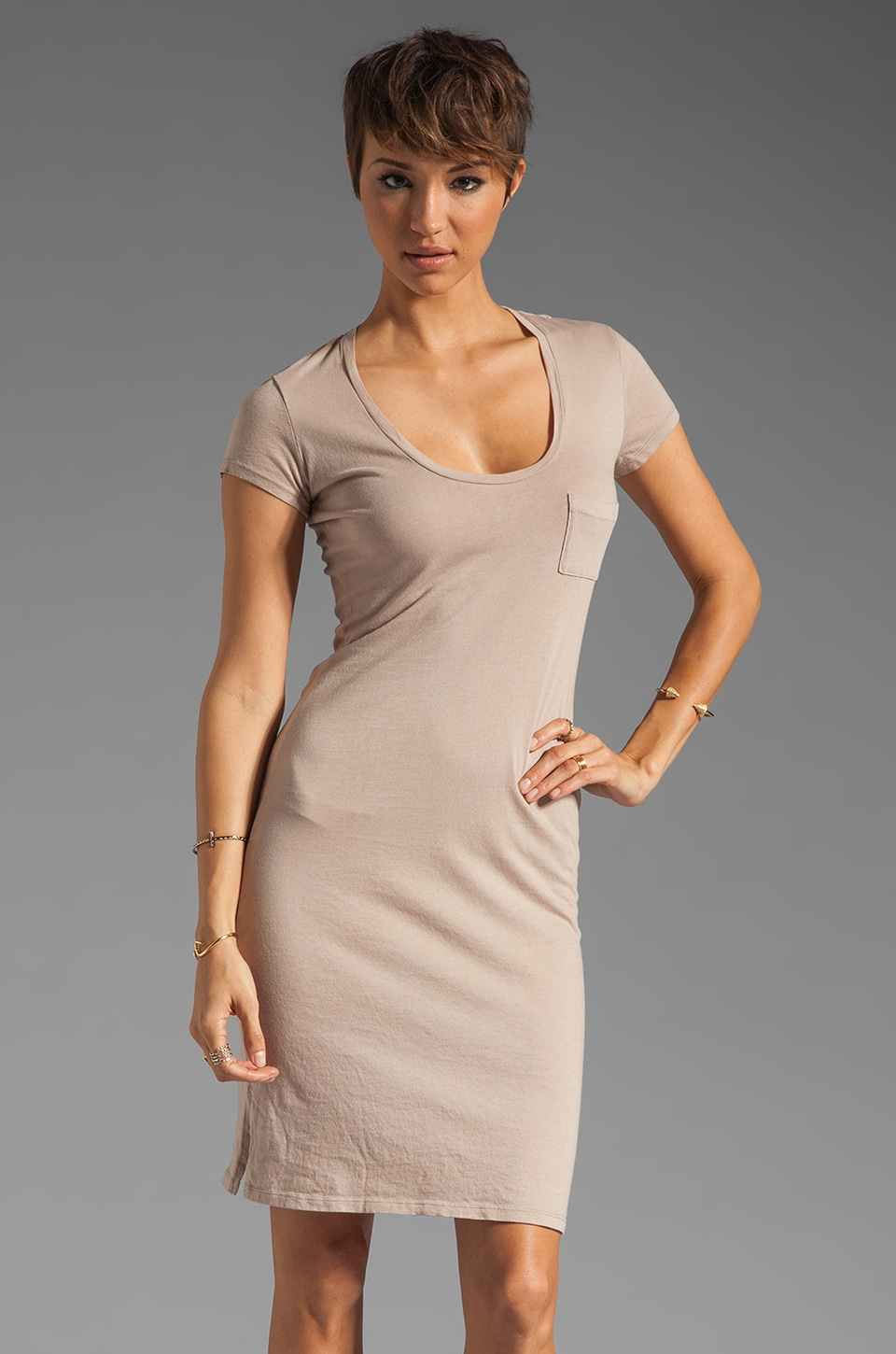 Bobi Light Weight Jersey Midi Dress in Coco
