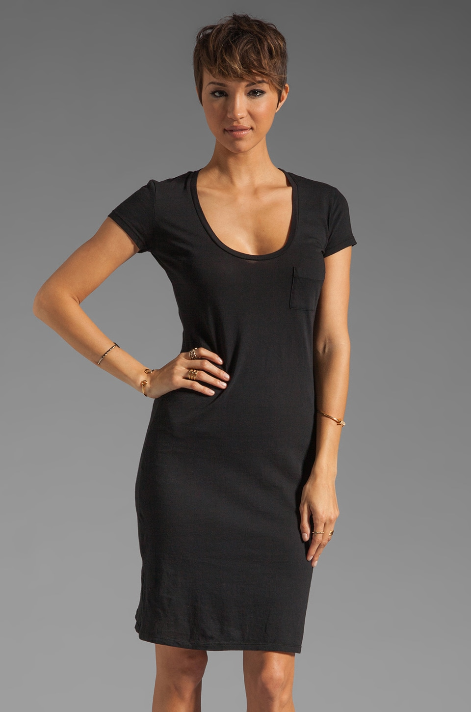 Bobi Light Weight Jersey Midi Dress in Black