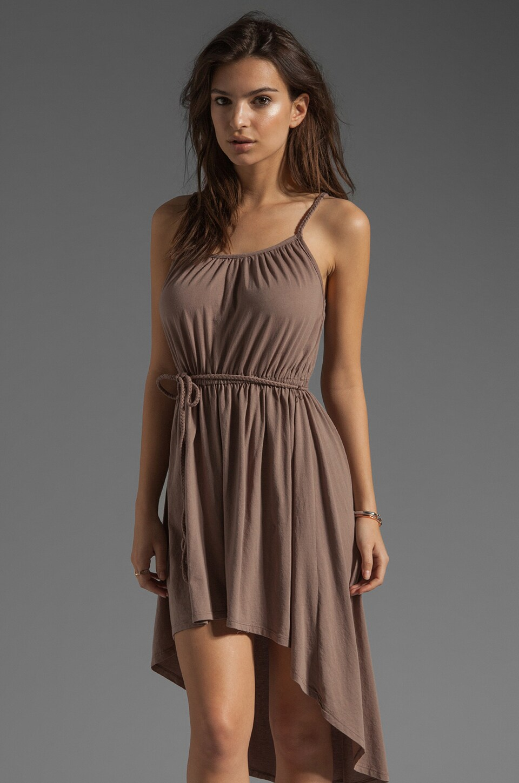 Bobi Supreme Jersey Tie Waist Asymmetric Dress in Java