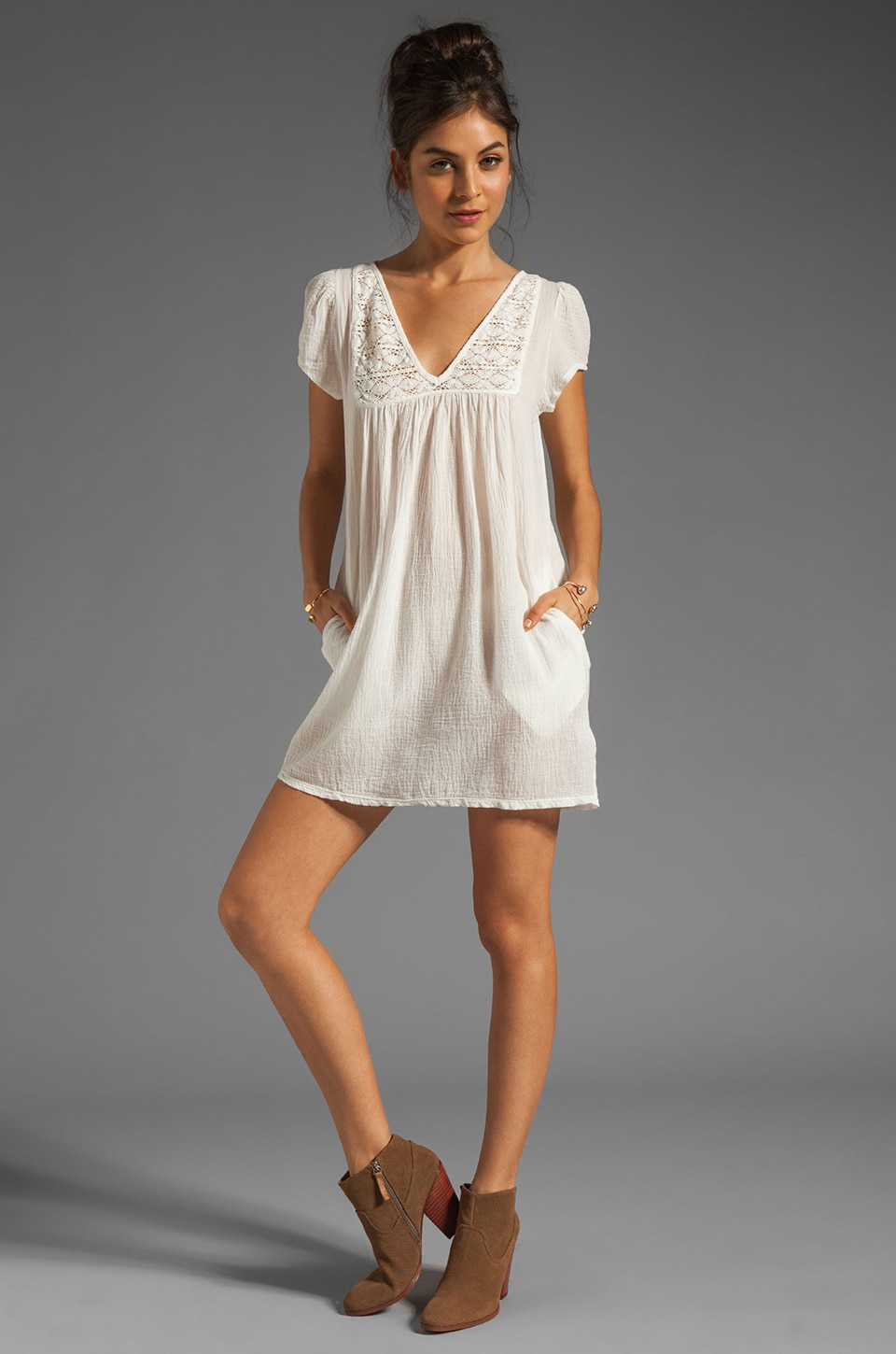 Bobi Gauze Mini Dress in Light