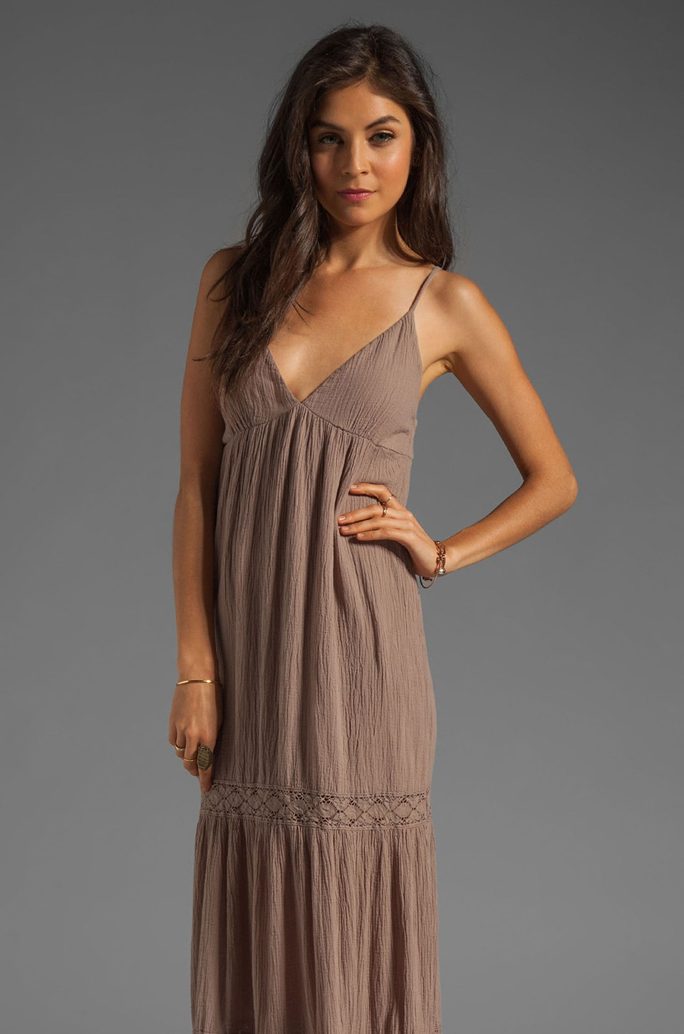 Bobi Gauze Tiered Maxi Dress in Java