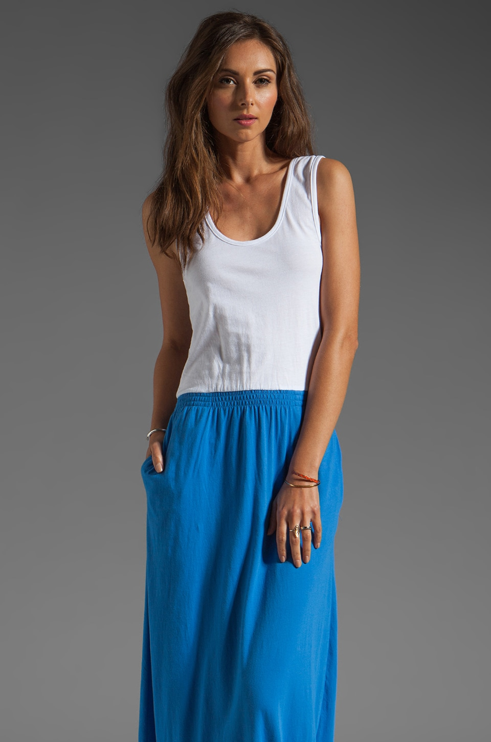 Bobi Colorblock Supreme Jersey Maxi Dress in White/Tropez