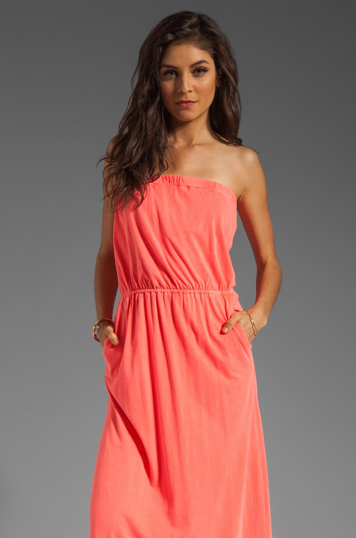 Bobi Supreme Jersey Strapless Maxi Dress in Neon Coral