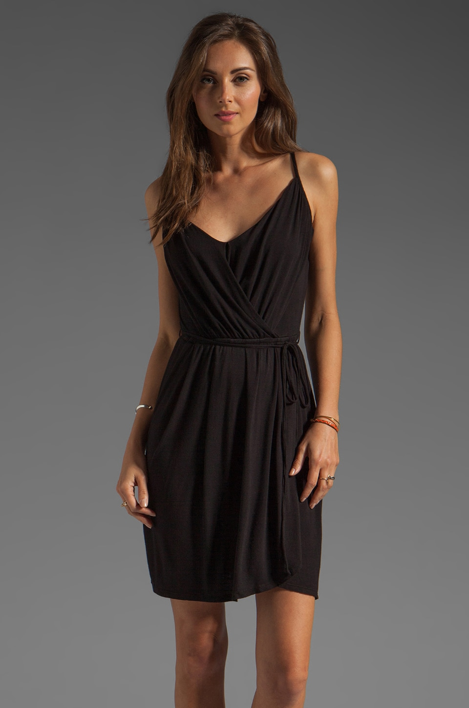 Bobi Tie Waist Wrap Dress in Black