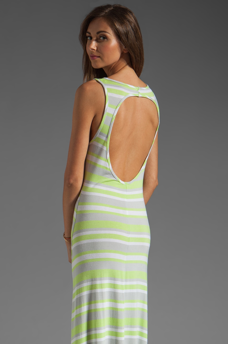 Bobi Rayon Stripe Asymmetric Dress in Limeade