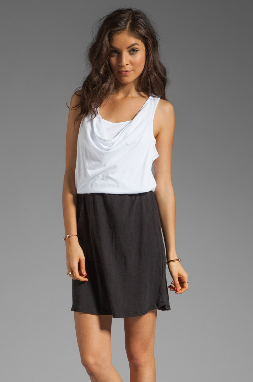 Bobi Colorblock Supreme Jersey Mini Dress in White/Black